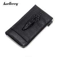 Baellerry Men Wallet Long Genuine Leather 3D Embossing Alligator Purses Cow Leather Male Zipper Card Holder Cell Phone Pocket