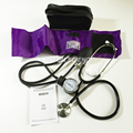 Purple Blood Pressure Monitor BP Cuff Arm Aneroid Sphygmomanometer and Stethoscope Kit
