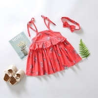 Baby Girls Dress Kids Floral Pattern Strap Dresses Casual Sleeveless Tutu Sundress with Headband Free Fashion Infant Dress