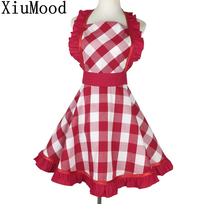 XiuMood Woman's <font><b>Apron</b></font> Home Cleaning <font><b>Kitchen</b></font> Party <font><b>Sexy</b></font> Lace Personality Waiter Work Bib Red And White Plaid Cotton Thin <font><b>Apron</b></font> image