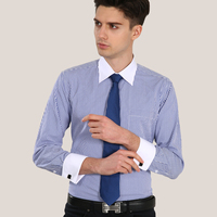 Luxury French Cuff Button MENS Dress Shirt 2014New Fashion Non Iron Long Sleeve Slim Striped High