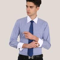 Luxury French Cuff Button MENS Dress Shirt 2014New Fashion Non Iron Long Sleeve Slim Striped High