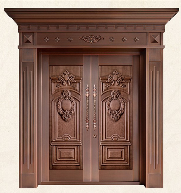 Bronze Door Security Copper Entry Doors Antique Copper Retro Door Double Gate Entry Doors H-c20