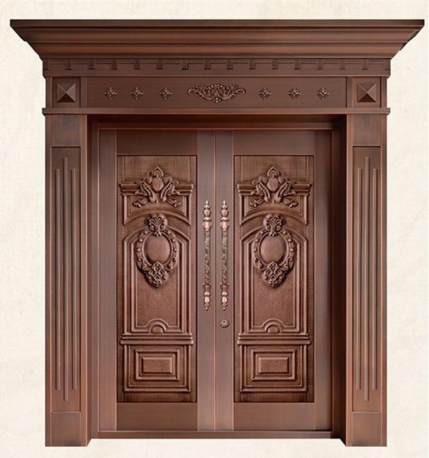 Bronze Door Security Copper Entry Doors Antique Copper Retro Door Double Gate Entry Doors H-c20