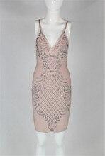 Strap Sleeveless V Neck Above Knee Pink Bandage Dress