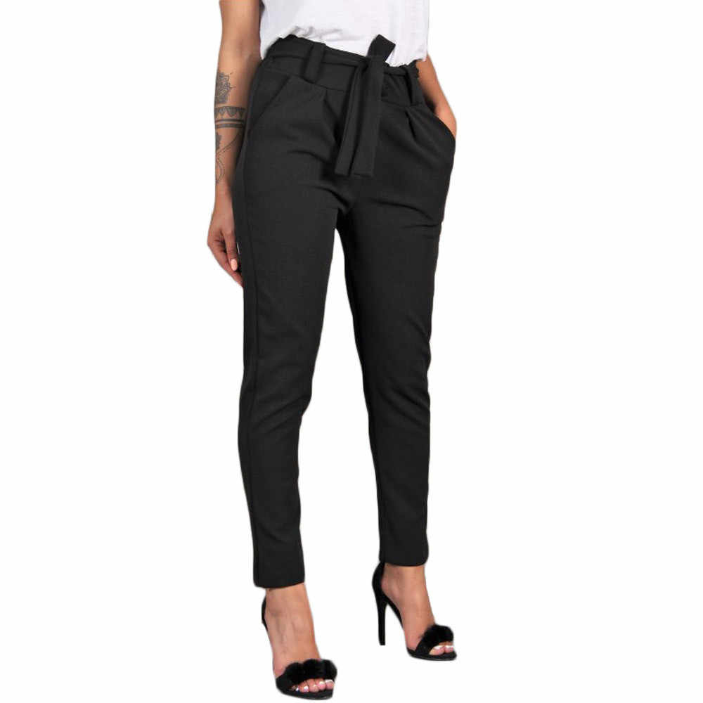 Born To Girl Casual Slim Chiffon Thin Pants For Women High Waist Black Khaki Green Pants 7.2