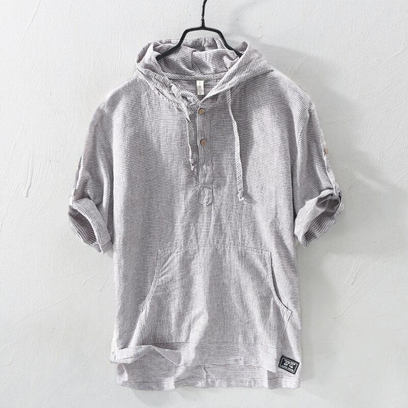 Summer Fashion Men Shirts Hooded Collar Half Sleeve Shirts Men Linen Cotton Fabric Japanese Style Casual Tee Shirt Camisa Hombre