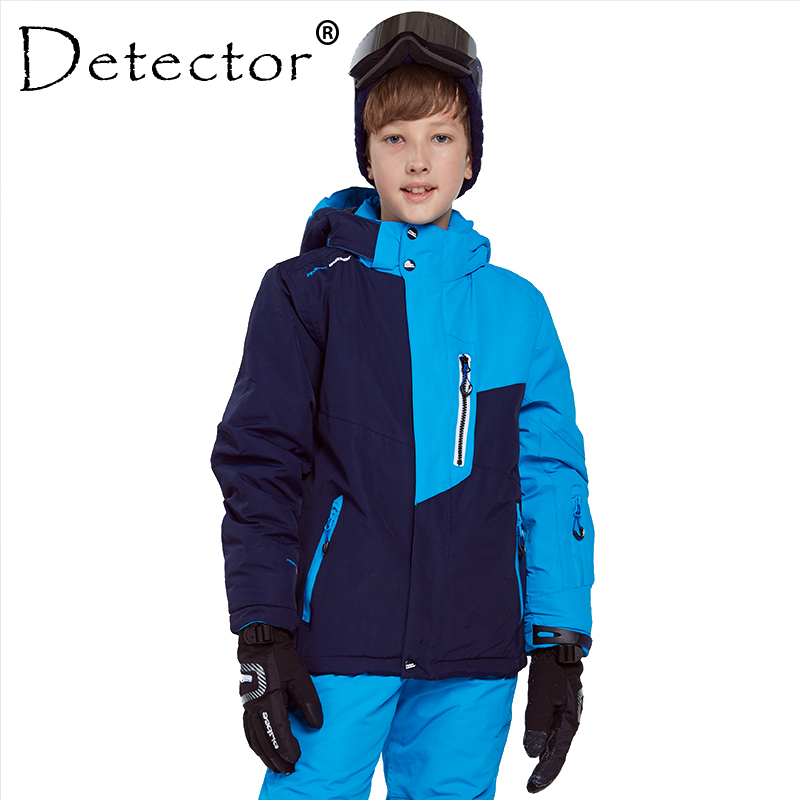 Detector Kids Boy Skiing Jacket Waterproof Windproof Ski Coat Winter Thermal Snowboard Jacket Winter Boy Hiking Coat -30 Degree