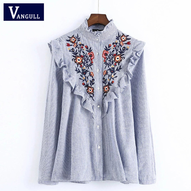 Ruffles Floral Embroidery Women Blouses 2017 Long Sleeve Stand Collar Elegant Blue Striped Ladies Shirts Brand Tops blusas