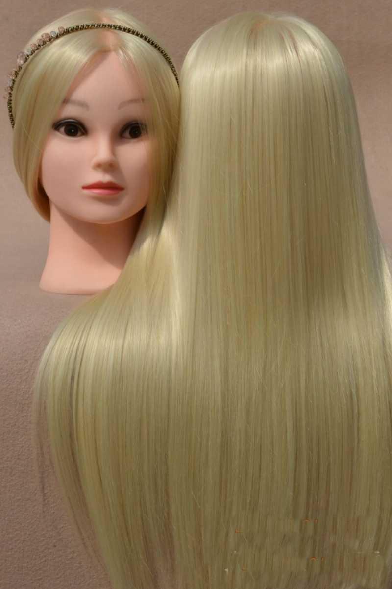 Золотые головы манекена, волосы манекены для укладки волос, тренировочная голова для женщин, бежевый парик с держателем