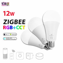 цена на ZIGBEE E27 12W RGB+CCT LED  Bulb AC110 - 220V RGB and dual white and color LED bulb dimmable lamp RGBW RGBWW work alexa phone