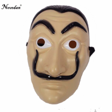 Salvador Dali Mask - La Casa De Papel Cosplay Party Realistic Human Face Mask