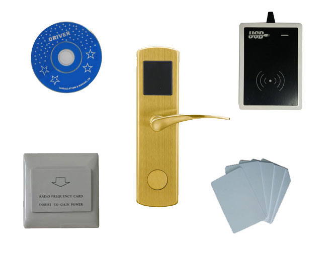 T57 card hotel lock system,include T57 hotel lock, usb hotel encoder ,energy saving switch,T57 card , sn:CA 8012 kit