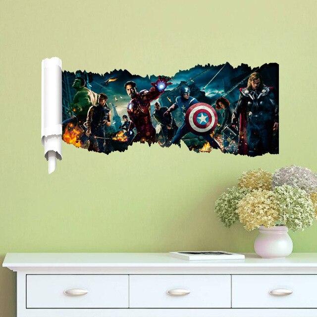 The Avengers Superhero Wall Stickers Kids Living Room Wallpaper ...