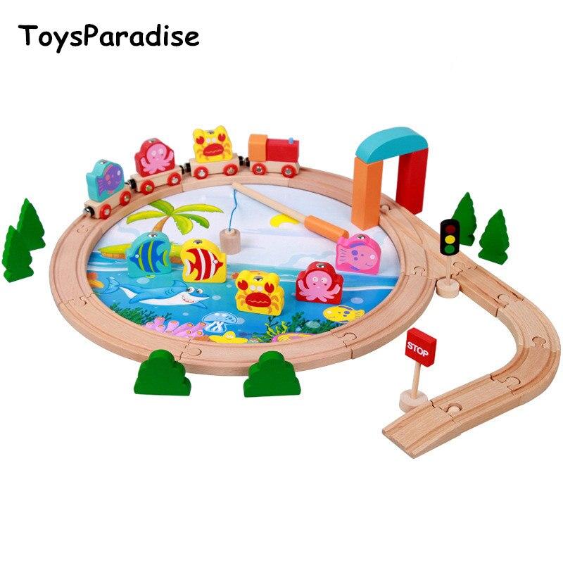 Livraison directe 40 pièces 3D Train de pêche en bois Set 2 en 1 bébé jouets en bois pour enfants Train piste jouets éducatifs cadeau