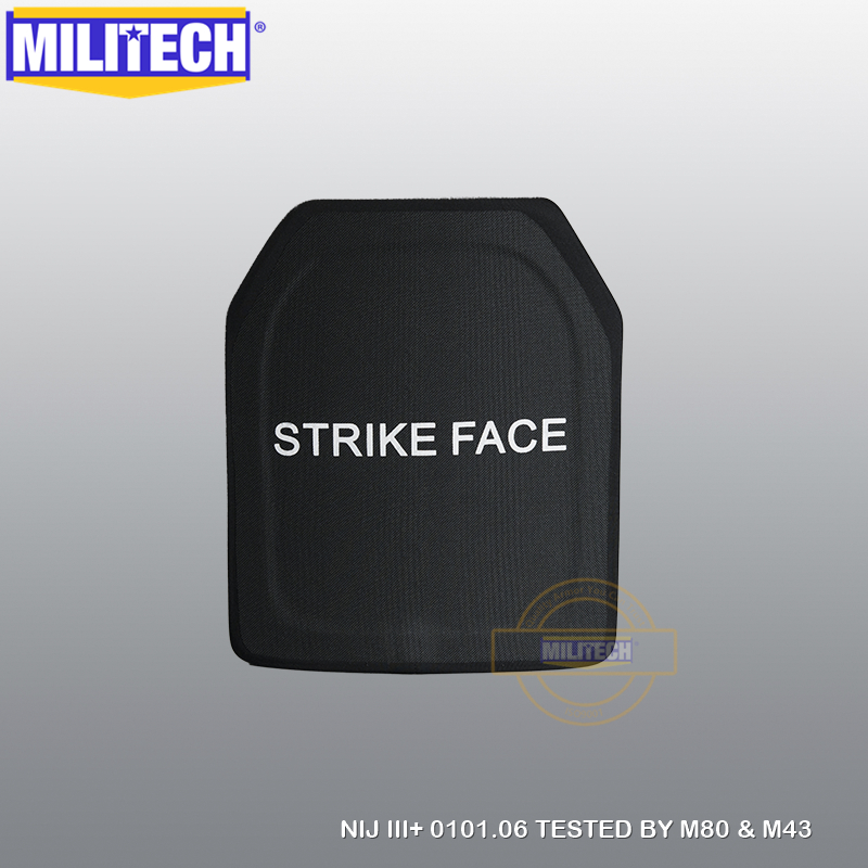 MILITECH 10x12 Inches 100% PE NIJ Level III+ Bulletproof Plate NIJ 3 Plus 3+ Pure PE Ballistic Panel M80 & AK47 Body Armor Panel