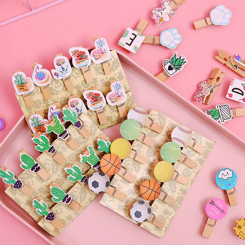 10 Pcs/lot Cartoon Unicorn Cactus Photo Clips Wooden Clip DIY Photo Wall Decoration Clip Craft Pegs With Hemp Rope