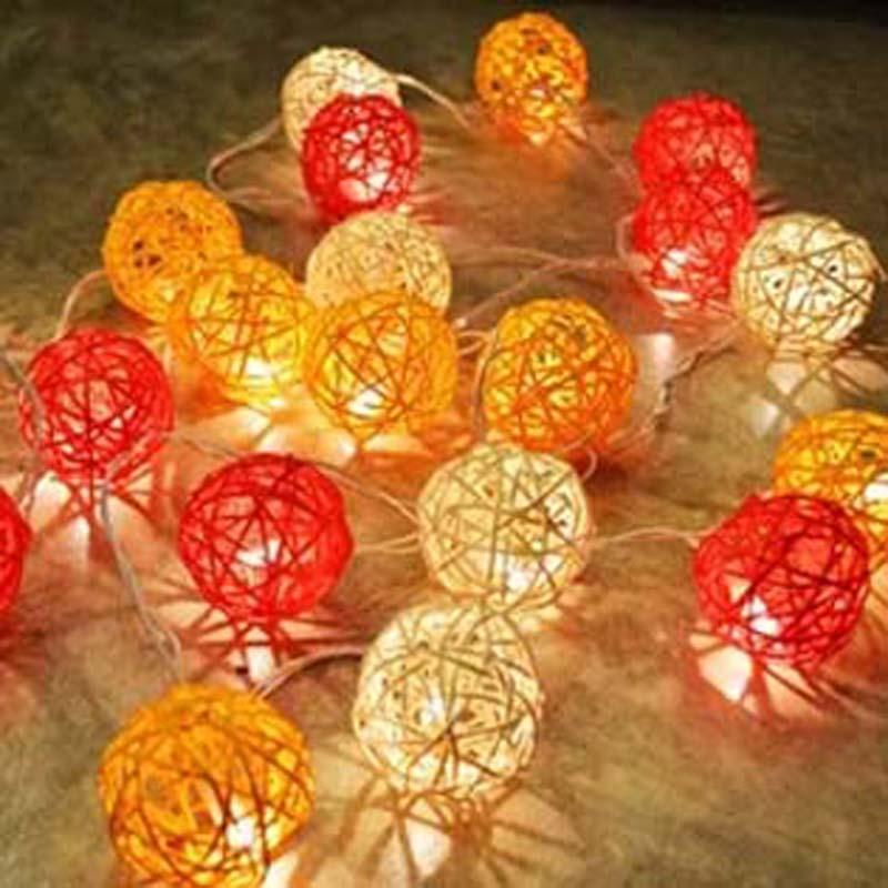 YIMIA 10m 38 Rattan Balls LED String Fairy Lights For Corridor Garlands Beach Bar Wedding Christmas Party Baby Room Decorations