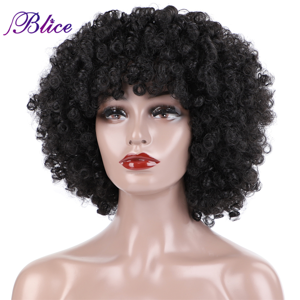 Blice Synthetic Afro Kinky Curly Short Wig Kanekalon Heat Resistant  Wigs 180g/Piece Average Size For Women