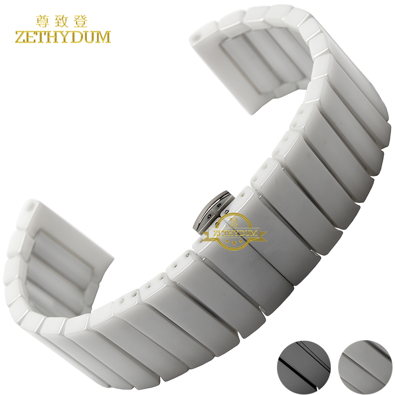 Ceramic watch strap bracelet watchband 22mm 24mm wristwatches band white black Butterfly buckle watch belt accessories not fade globe футболка globe snake mountain tee vint black
