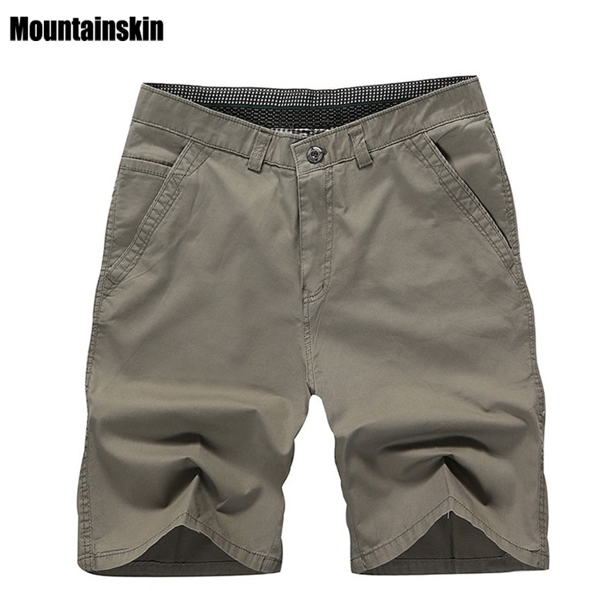 Mountainskin 2018 New Summer Men's Cotton Shorts Solid Casual Men's Business Shorts Soft Thin Brand Male Beach Shorts,SA179