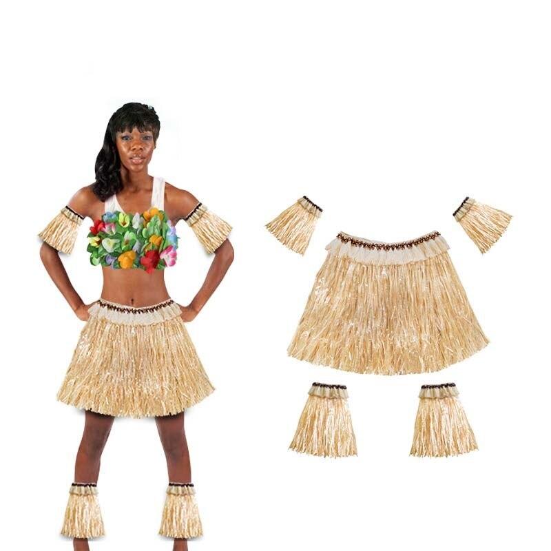 Donna Ragazza Hawaiana 40 cm Gonna Hula Lei Hula Set Costume Accessorio