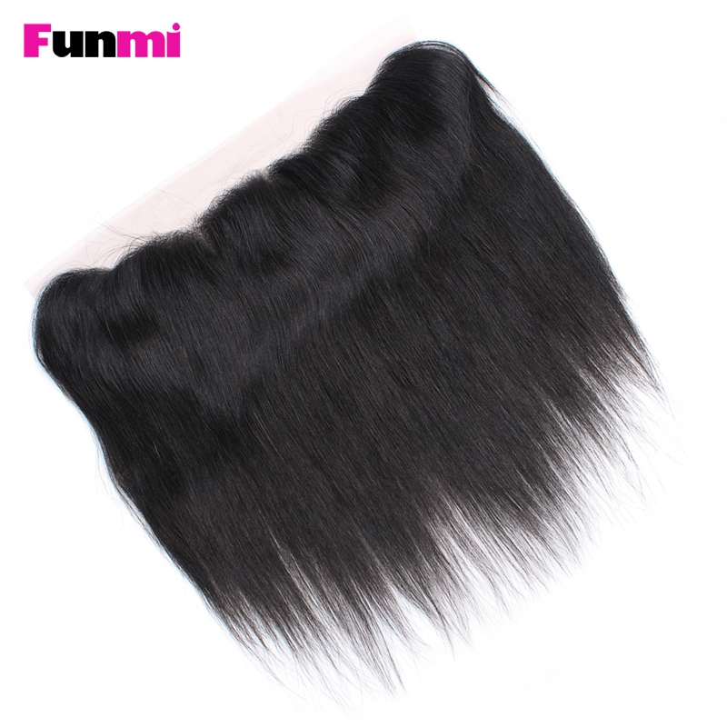 Funmi 8-20 Inch Indian Virgin Hair Straight Pre Plucked Lace Frontal Closure 13x4 Inch Human Hair Lace Frontal With Baby Hair