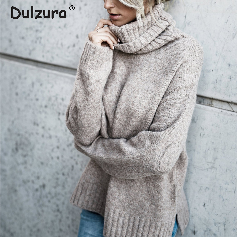 caf738dc8d90e Thicken Warm Turtleneck Sweater Women Autumn Winter 2018 Knitted Pullovers  Sweaters High Elasticity Pull Femme Soft Jumper Tops