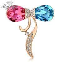 Mytys Blue and Red Crystal Rose Gold Color GP High Quality Brooch for Women Formal Occasion Jewelry Accessory X243