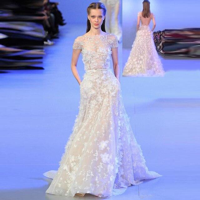 85f57fa6e7a Haute Couture Robe de Soirée Longue Onirique de Soirée Partie Robes 3D Fleur  Appliques Chic Robes