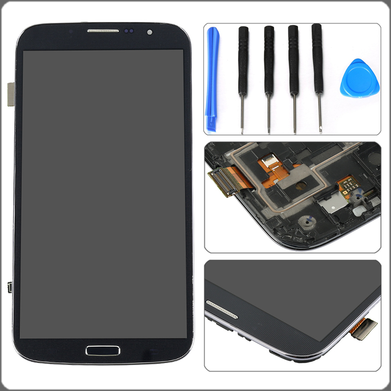 6.4'' Black For Samsung Galaxy Mega 6.3 i9200 i9205 LCD Display Touch Screen Digitizer with Bezel Frame Assembly Free shipping!