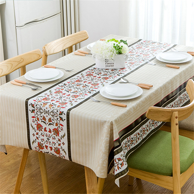Simple Plaid Tablecloth Waterproof Pvc Plastic Table Cloth For Decor Fl Oilproof Fabric On Tea Cover Kitchen