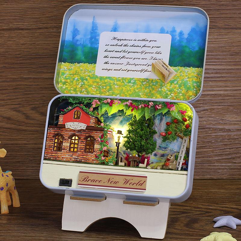 Elegant Box Secret DIY Doll House Miniatura With Furniture Bunny Bracket Creative Theme Design Gift Kids Brave New World T008 #D