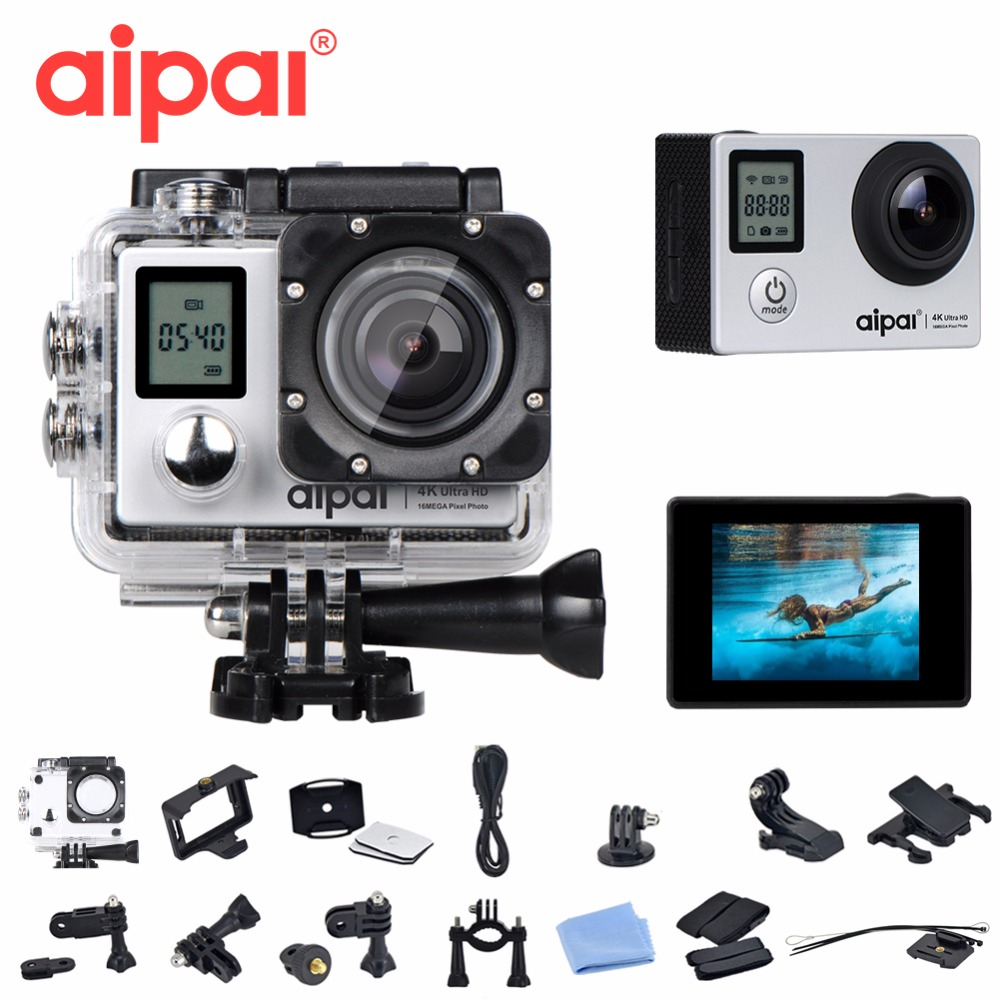 Aipal A1 4K Double Screen Action Camera WiFi Extreme Sports DV Ultra HD 12MP with remote control Diving 30m Waterpoof sport cam free shipping gitup git2 16m ultra 2k wifi dv sports action helemet camera 18 in 1 accessories