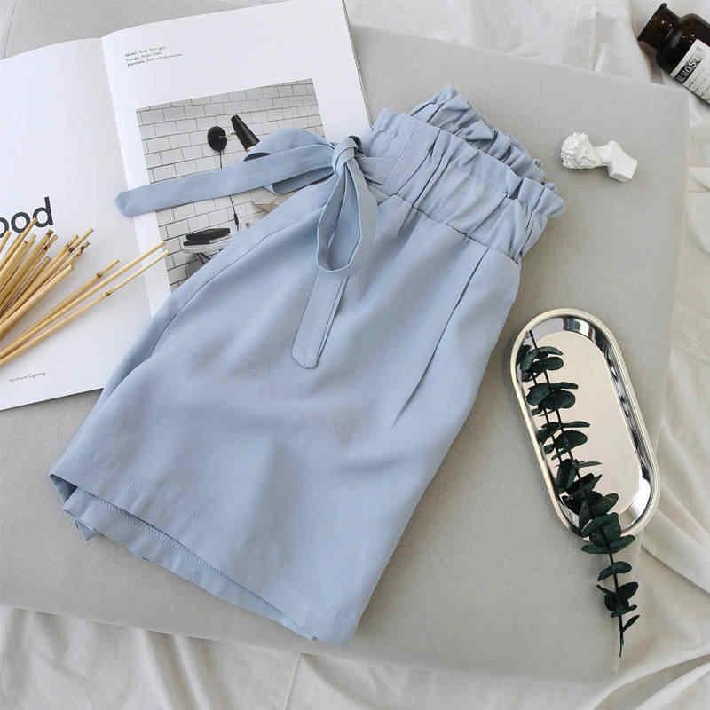 Białe czarne spodenki kobiet nowy Lace Up wysokiej talii szerokie nogawki letnie spodenki luźne na co dzień miękkie krótki Femme plaża kobiety spodenki C5254