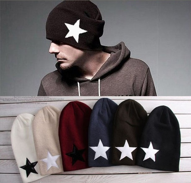 2017 Autumn and winter free shipping NEW hat Wool knitting fashion cap star design male fashion