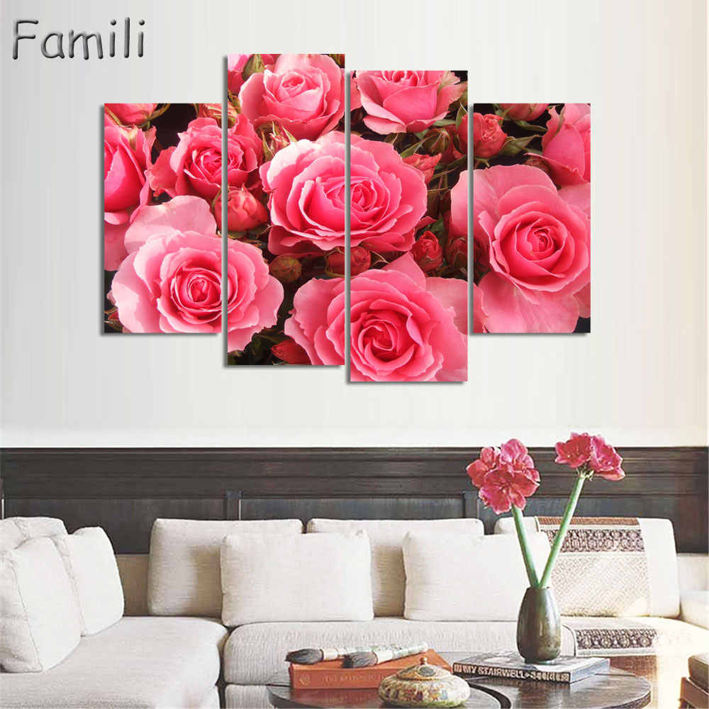 4Pieces/set Combined Flower Paintings Purple Rose Modern Wall Painting Canvas Wall Art Picture Unframed Canvas Painting