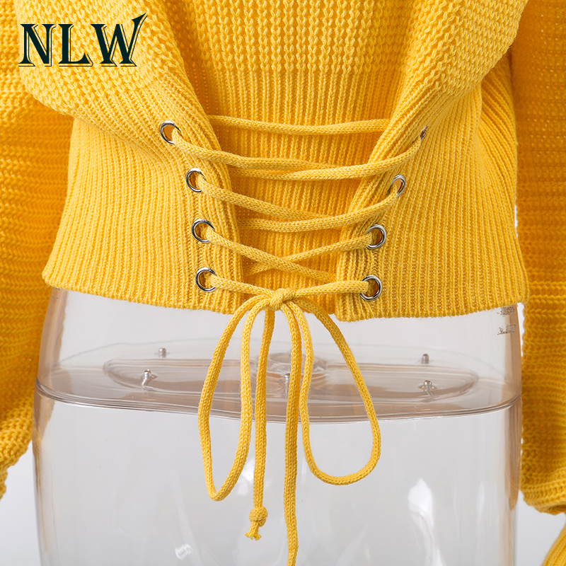 NLW Lace Up Crop Casual Women Sweater 19 Autumn Winter Knitted Pullovers Long Sleeve O Neck Loose Jumper Top Bandage Sweater 10