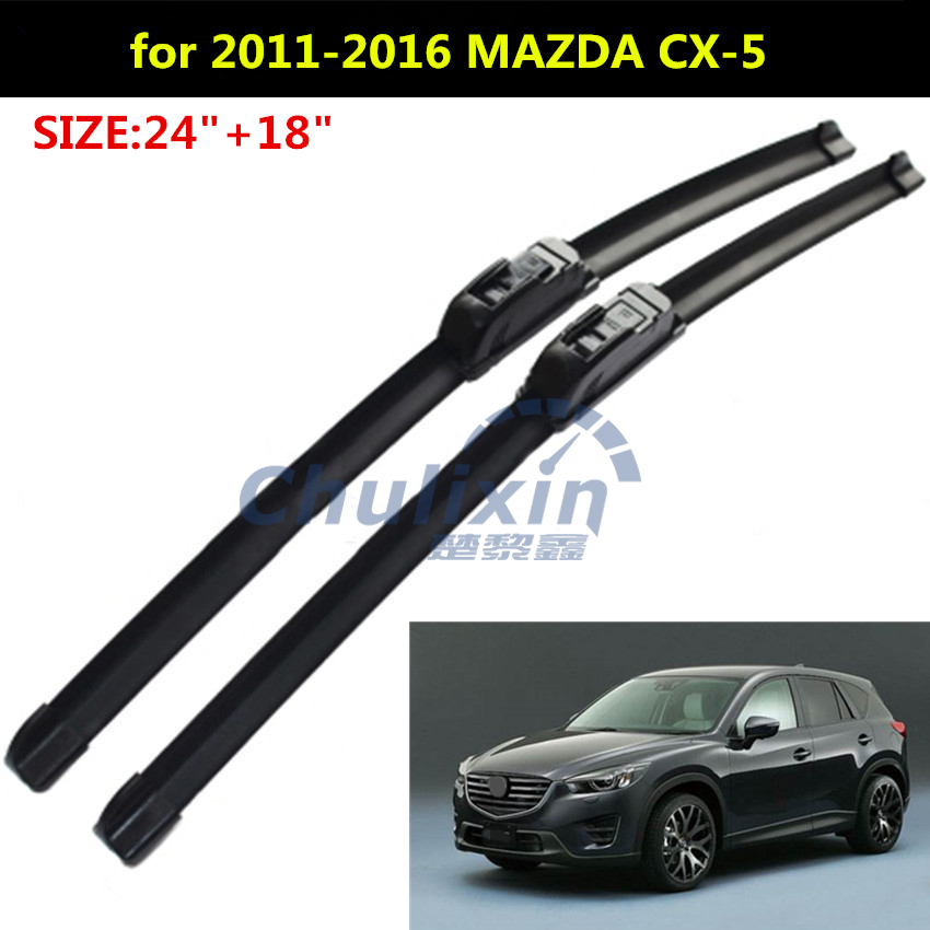 2pcs/lot Wiper blades for 2011-2016 MAZDA CX-5 CX5 CX 5 24+18 fit standard J hook wiper arms car accessories wiper blades for mazda cx 9 26