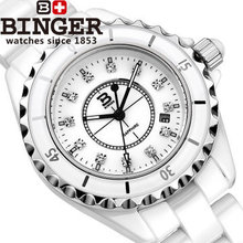 Binger new Luxury brand  white ceramic fashion quartz watch women CZ diamond dress watches ladies girls date casual wristwatches