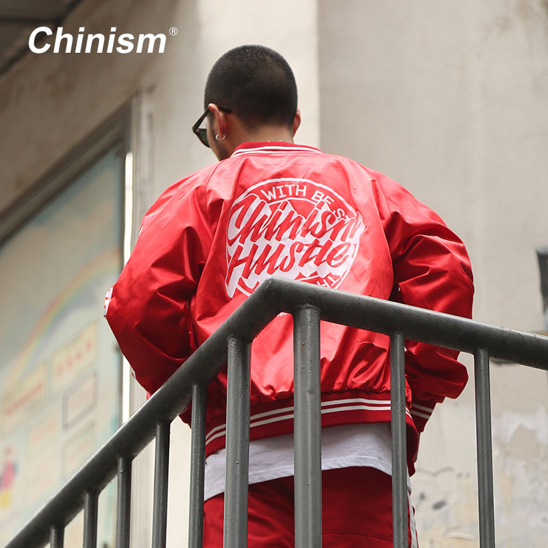CHINISM Red Black Varsity Baseball Uniform 2017 Streetwear Brand Letter Printed Baseball Jackets Mens Hip hop Swag Jacket