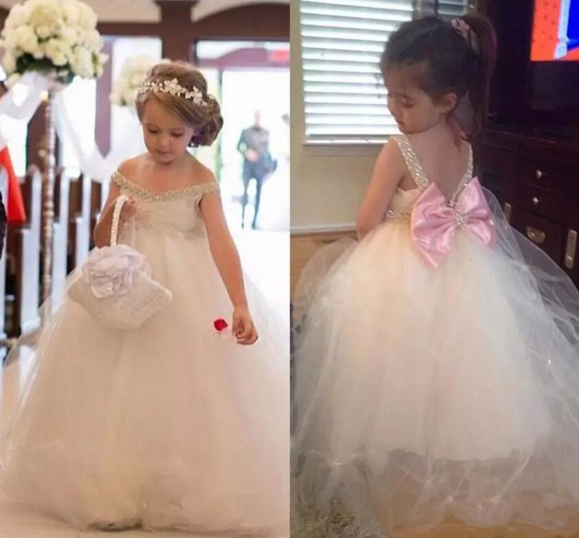 Cute Ivory Flower Girls Dresses for Weddings V Neck Beads Tulle Girls Pageant Dress Back With Bow Custom Made v neck zip back dress