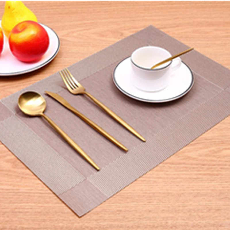 PVC Fashion Placemat Dining Table Mat Disc Pads Bowl Pad Coasters Waterproof Table Cloth Pad Non-slip Pad Tableware