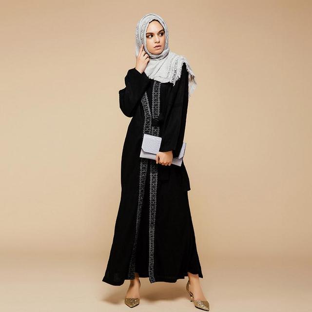 Oriente médio Árabe muçulmano adulto preto único botão longo-sleeved solto liene algodão Fino rendas abaya w1893