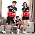 T-shirt roupas da moda mãe pai do bebê mommy and me algodão família combinando roupas personagem de manga curta 4512