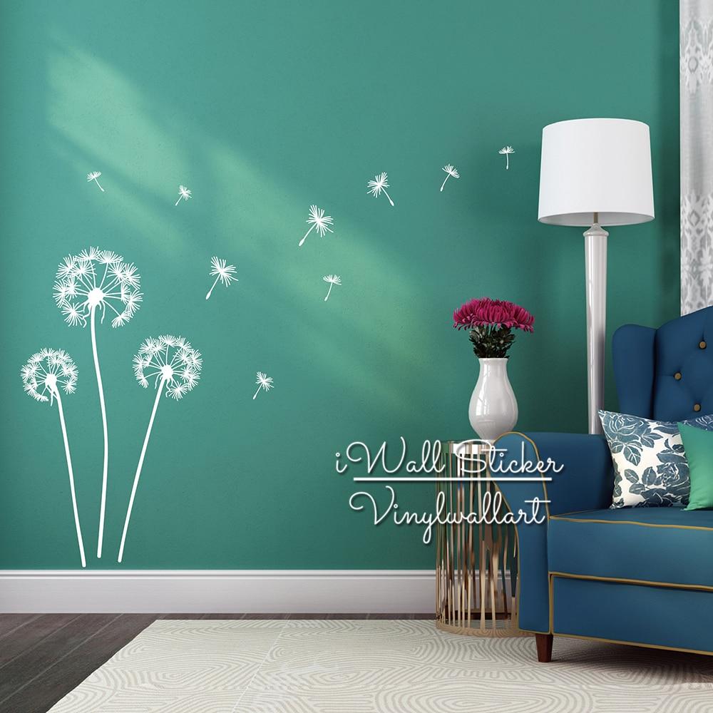 Dandelion Wall Sticker Dandelion Flower Wall Decal DIY Dandelion Sticker Modern Vinyl Wall Art