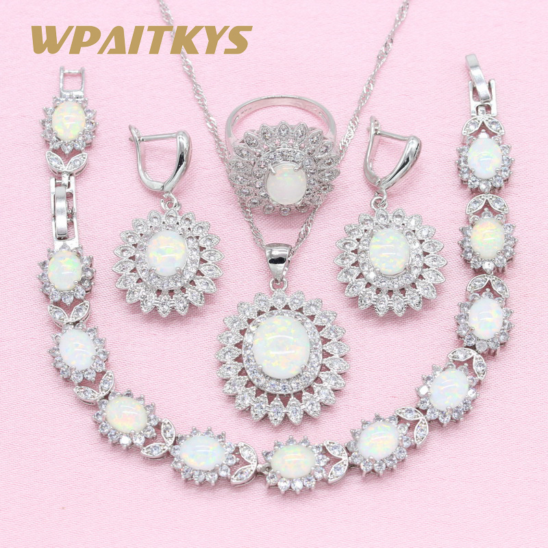 Flower Exquisite White Opal 925 Silver Jewelry Sets For Women's Party Necklace Earrings Ring Bracelet Free Box WPAITKYS wpaitkys trendy white opal 925 silver jewelry sets women s wedding necklace earrings ring bracelet free box