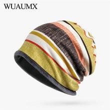 Wuaumx High Quality Winter Plus Velvet Skullies Beanies Hats For Women Striped Turban Mens Hedging Caps chapeau femme