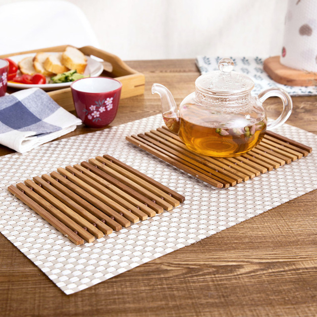 Bamboo Tableware Mat Foldable Anti skid Creative Japan Style Marmite Table Mat Cushion Pot Pad Western & Bamboo Tableware Mat Foldable Anti skid Creative Japan Style Marmite ...