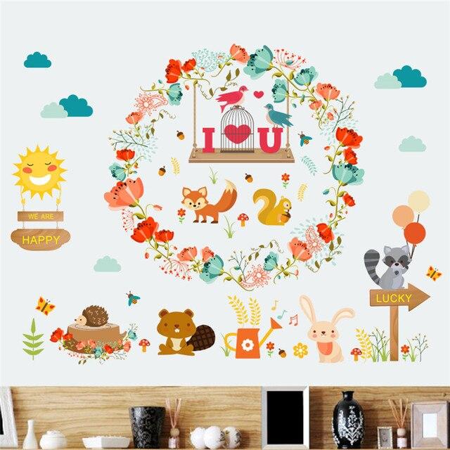 Jungle forêt Animal écureuil lapin stickers muraux pour enfants ...
